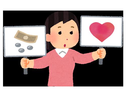 愛とお金を比較する女性