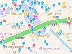 GPS機能を備えた出会い系アプリのマップ